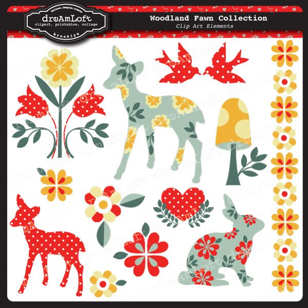Woodland Fawn Collection Clip Art