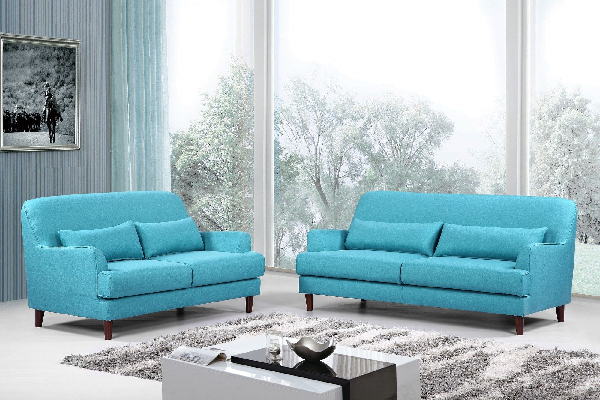 Modern 2 Piece Sofa and Loveseat Set Products