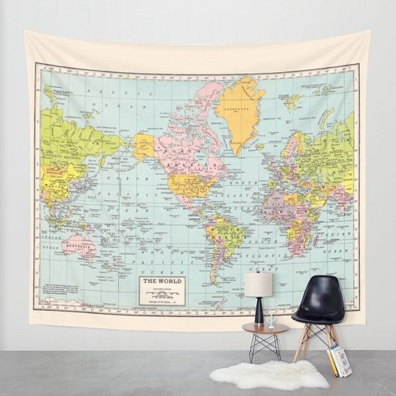 world map tapestry wall hanging vintage map pastel colors beautiful map travel