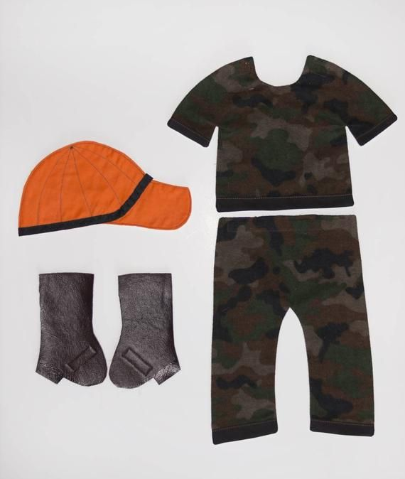 Hunter's Orange Cap and Camouflage Outfit for Paper Doll Quilt, Dress Up Doll Blanket Camo Outfit With Boots and Cap #boydollsincamo