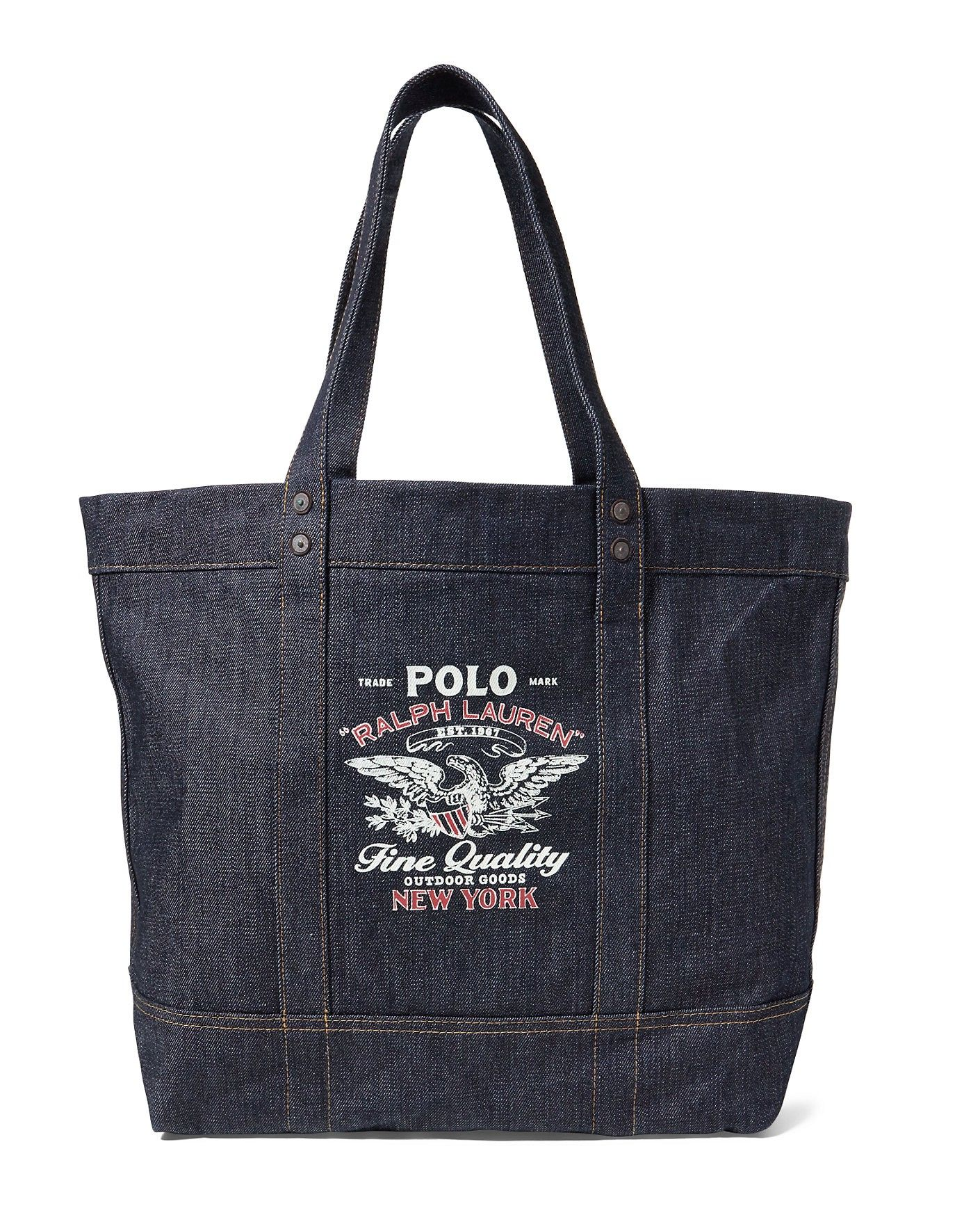 POLO RALPH LAUREN Denim Tote. #poloralphlauren #bags #polyester #tote #leather #lining #denim #hand bags #cotton #
