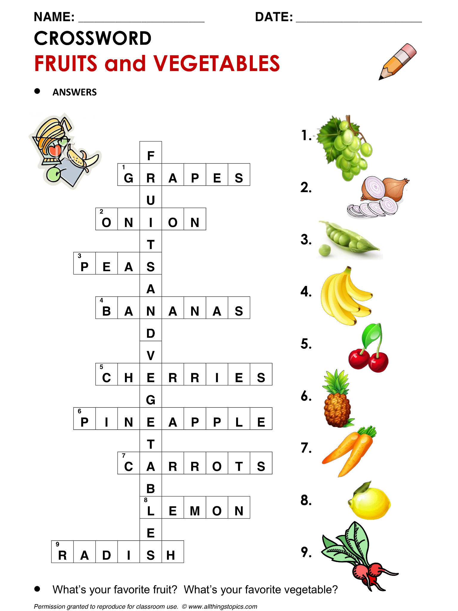 English Crossword Vocabulary Building Fruits And