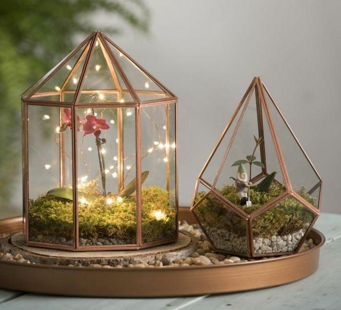 jardin miniature, récipient en verre, cailloux décoratifs, faire un ...