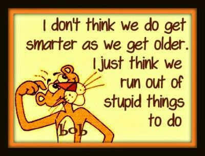 I don't think we get smarter as we get older I just think we run out of stupid things to do