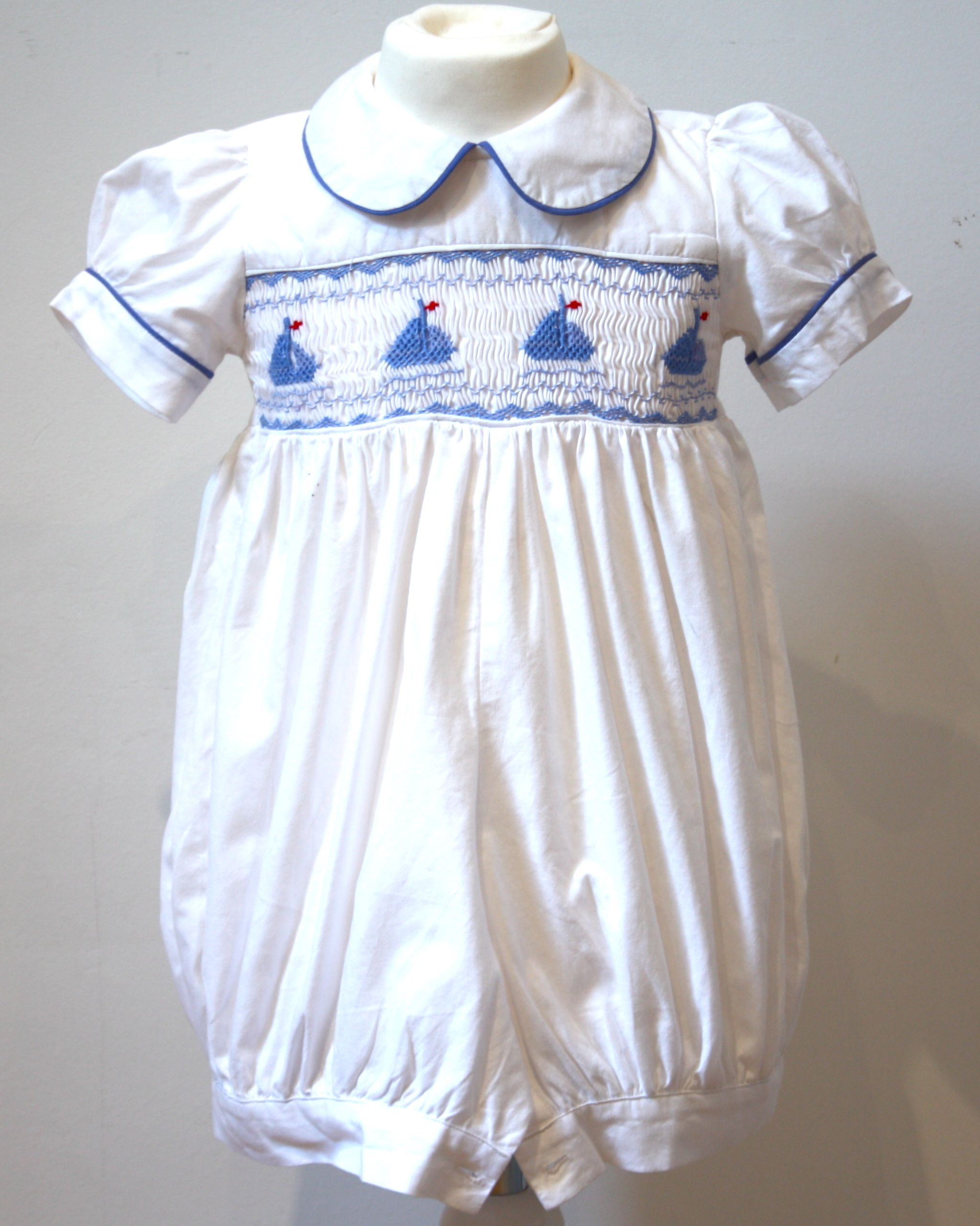 Georges Smocked Sailboat Romper From Les Petites Abeilles Cause