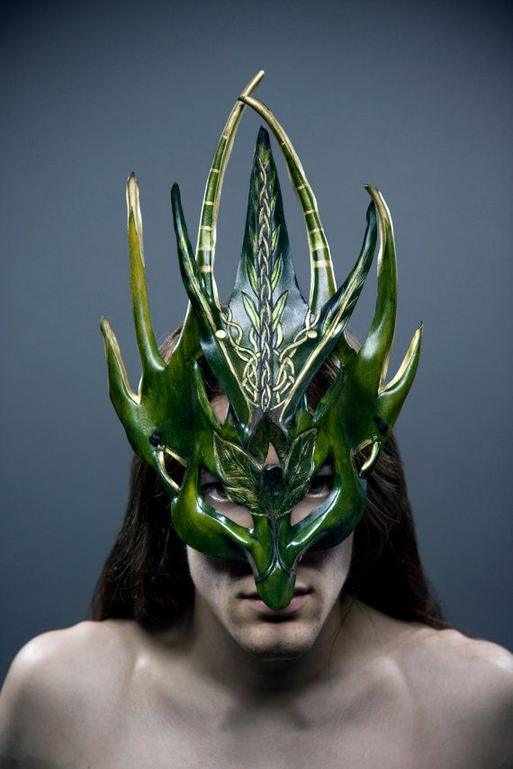 Green Man Warrior Mask by RaggedEdgeLeather on Etsy, $300.00  see their online store here:  http://www.etsy.com/shop/RaggedEdgeLeather?ref=seller_info