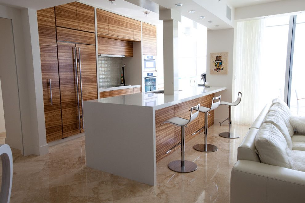 Modern Walnut Kitchen Cabinets zebra wood cabinets kitchen contemporary with counter stools flush