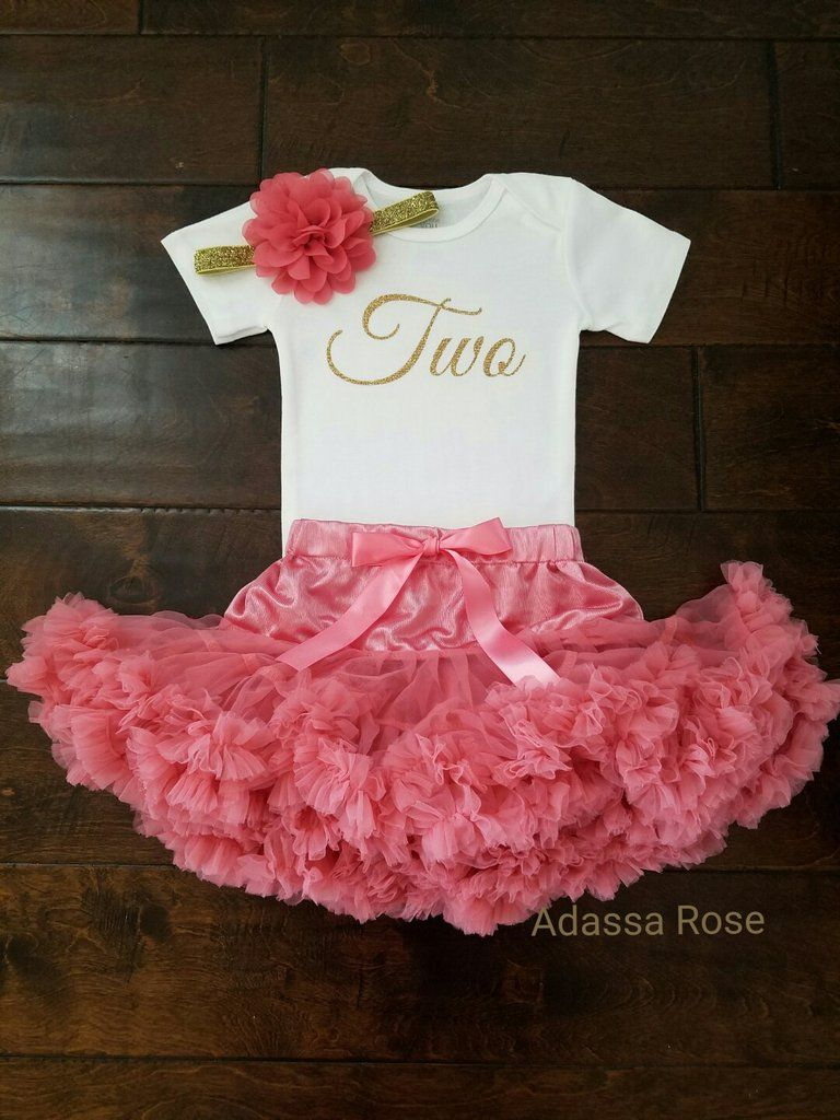8fbfff772 Rose Coral And Gold First Birthday Outfit   Kids Style   Birthday ...