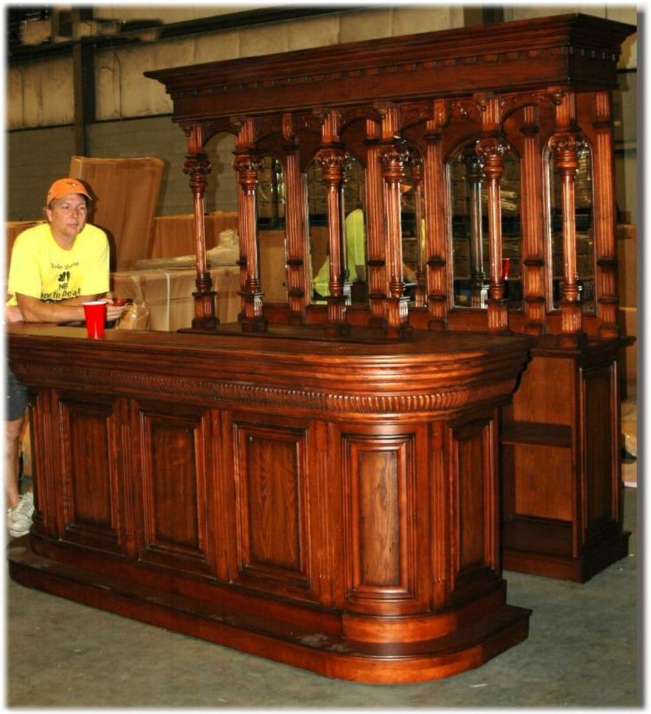 English Pub Home Bar Design: Victorian Antique Style Tavern Bar Front Back Walnut 8ft