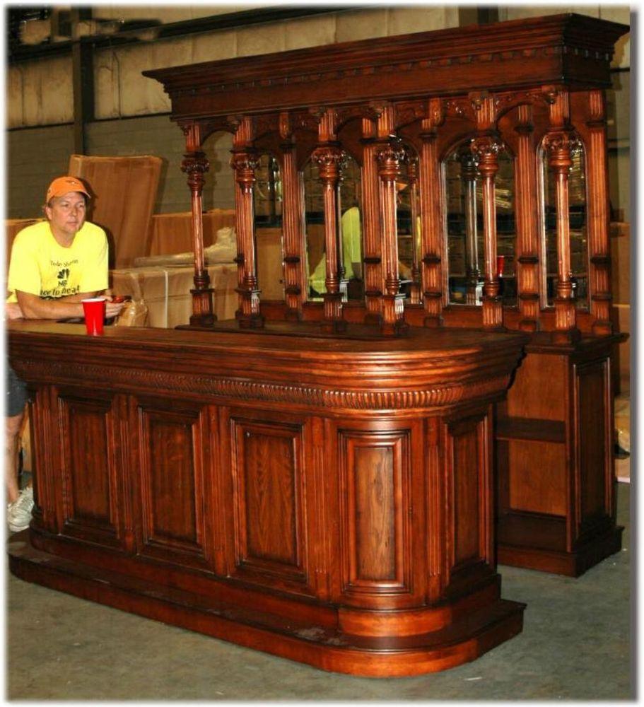 Victorian Antique Style Tavern Bar Front Back Walnut 8ft