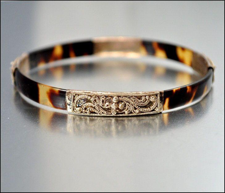 Antique Tortoise Bracelet Silver Victorian Jewelry S Vintage