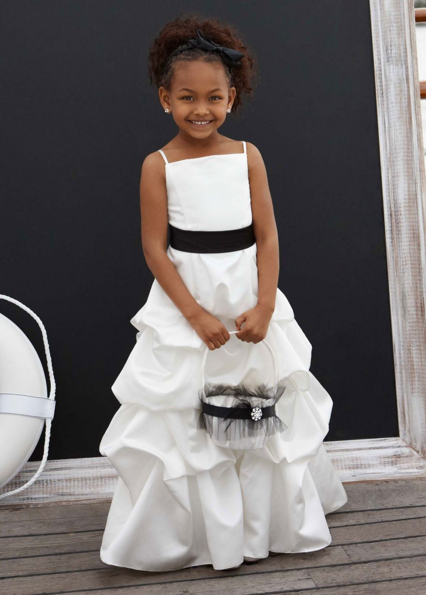 70498de5606 Red Flower Girl Or Junior Bridemaid Dress off retail. Satin Spaghetti Strap  with Pick-up Skirt - David s Bridal