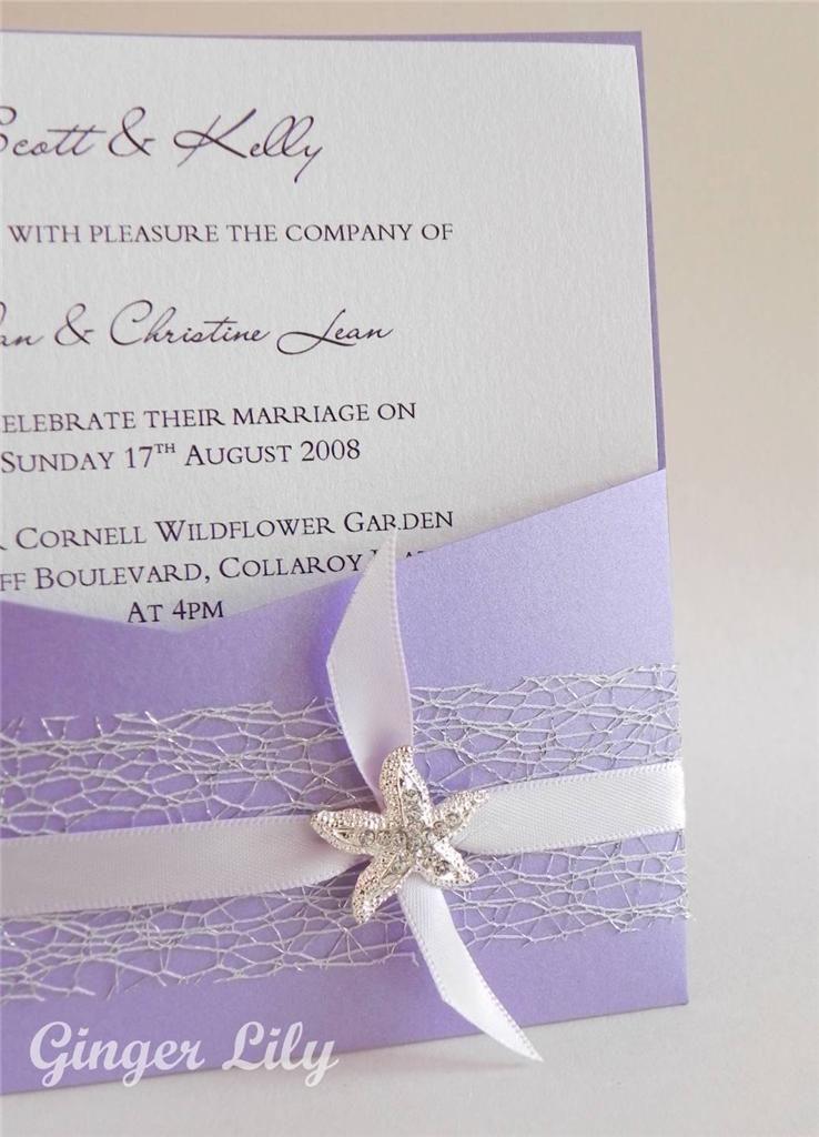 SALE Beach Wedding Invitation DIY Kit Reef Lavender Pocket Invite 10