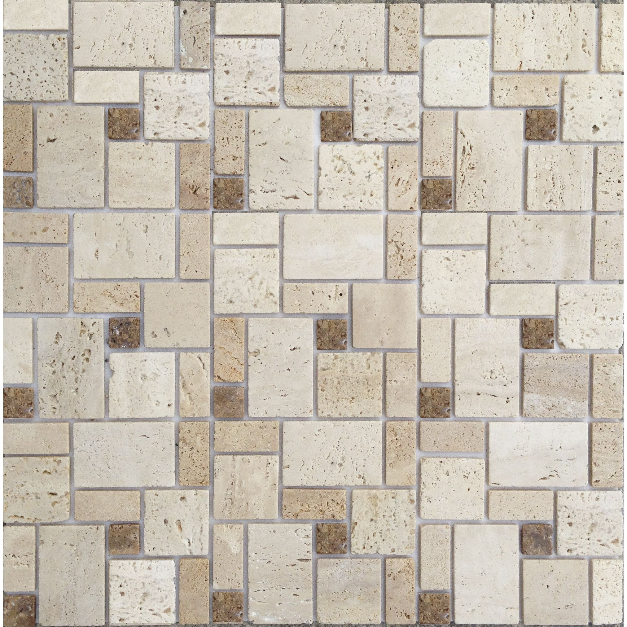 12\'\' x 12\'\' Natural Stone Peel & Stick Mosaic Tile in Brown & Beige ...