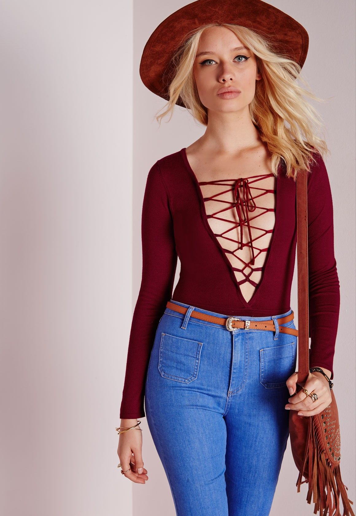 2a96e9ae39df Missguided - Deep Plunge Knitted Lace Up Bodysuit Burgundy