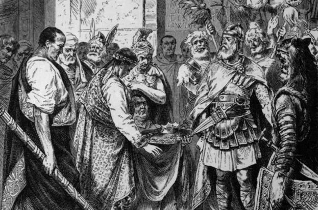 Ancient History Illustration c470 AD: Germanic prince, Odovacar, compels the last Roman emperor of the west, Romulus Augustulus, to yield the crown. Odovacar became king of Italy in 476 AD. (Photo by Bob Thomas/Popperfoto/Getty Images)