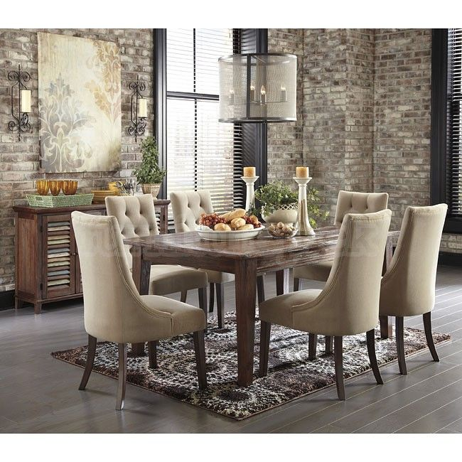Awesome Mestler Brown Dining Set W/ Upholstered Chairs
