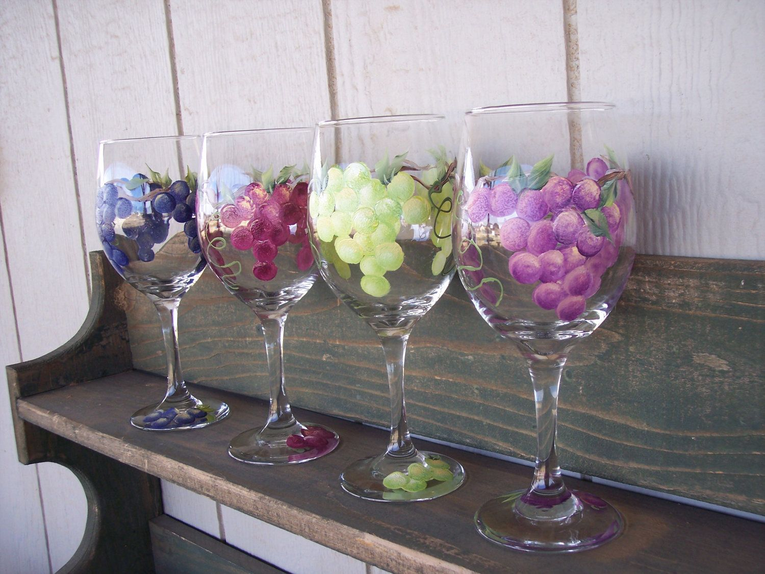 Hand painted wine glasses with grape design set of 4 49 for Hand painted wine glasses