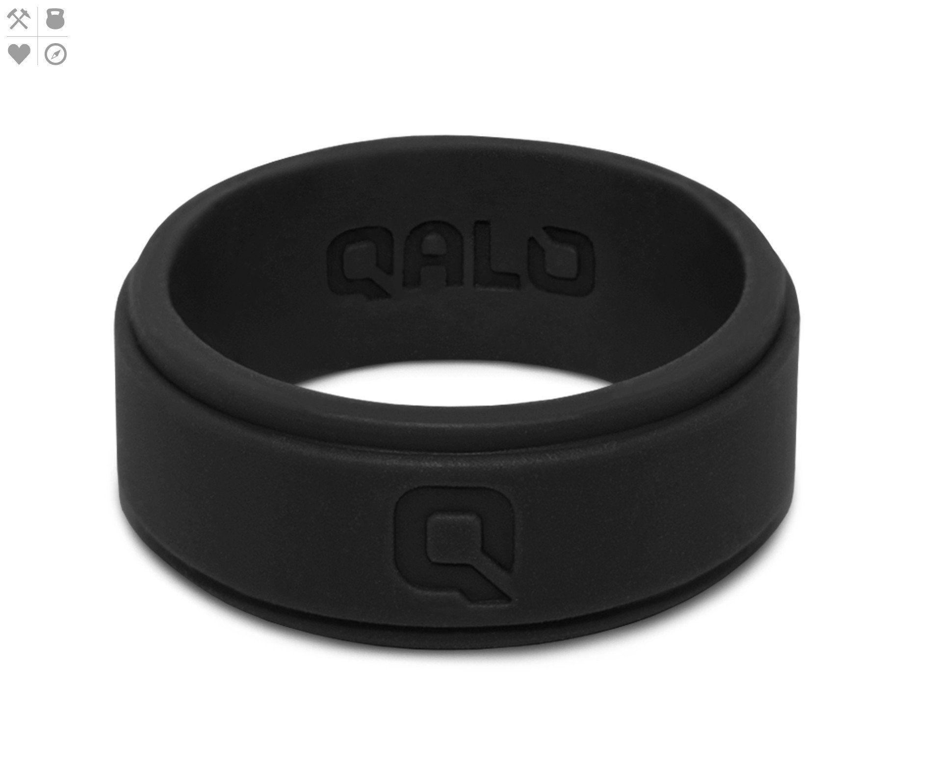 Men s Black Step Edge Q2X™ Silicone Ring
