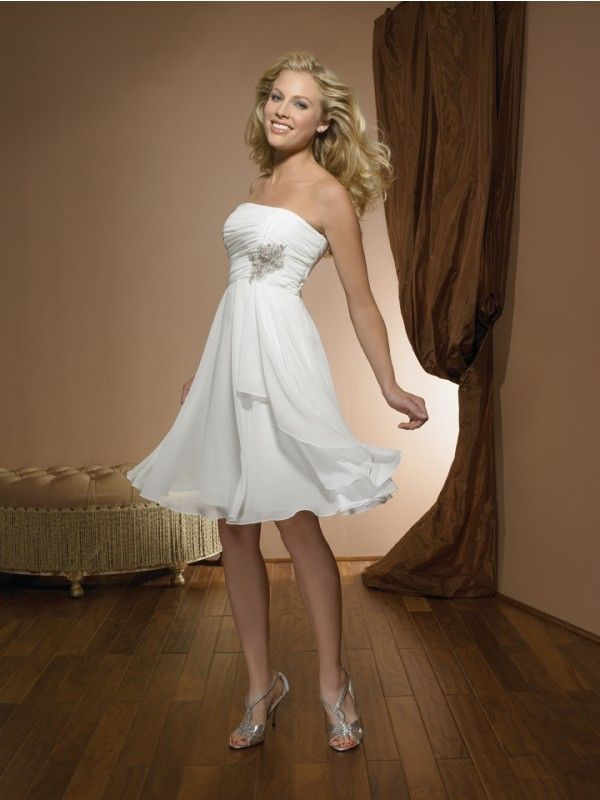 A Line Strapless Sleeveless Short Wedding Dress Knee Length Zipper Back Lique Chiffon Bridal Gown