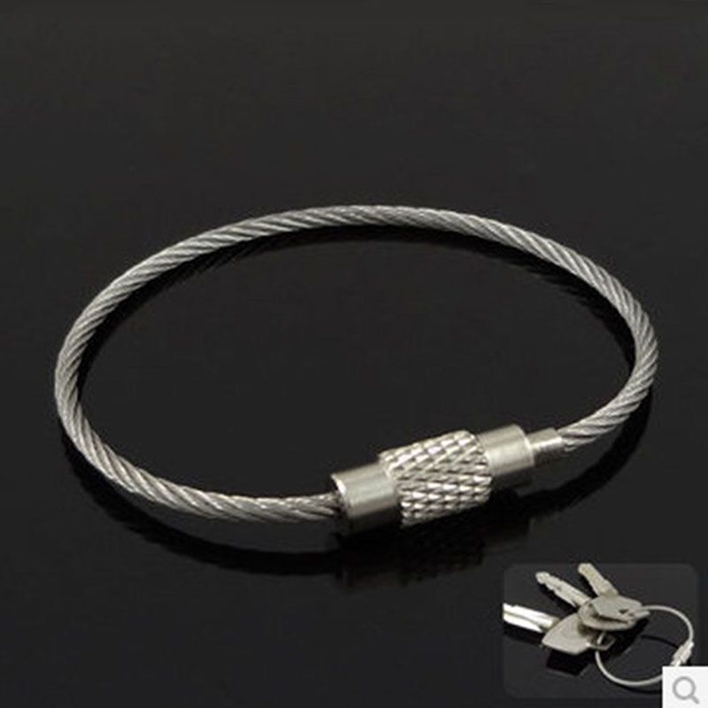 Wire key ring Wire Keychain Key Ring 15pcs Large Key Fob Ring stainless steel cable wire Keyring Keychain Findings