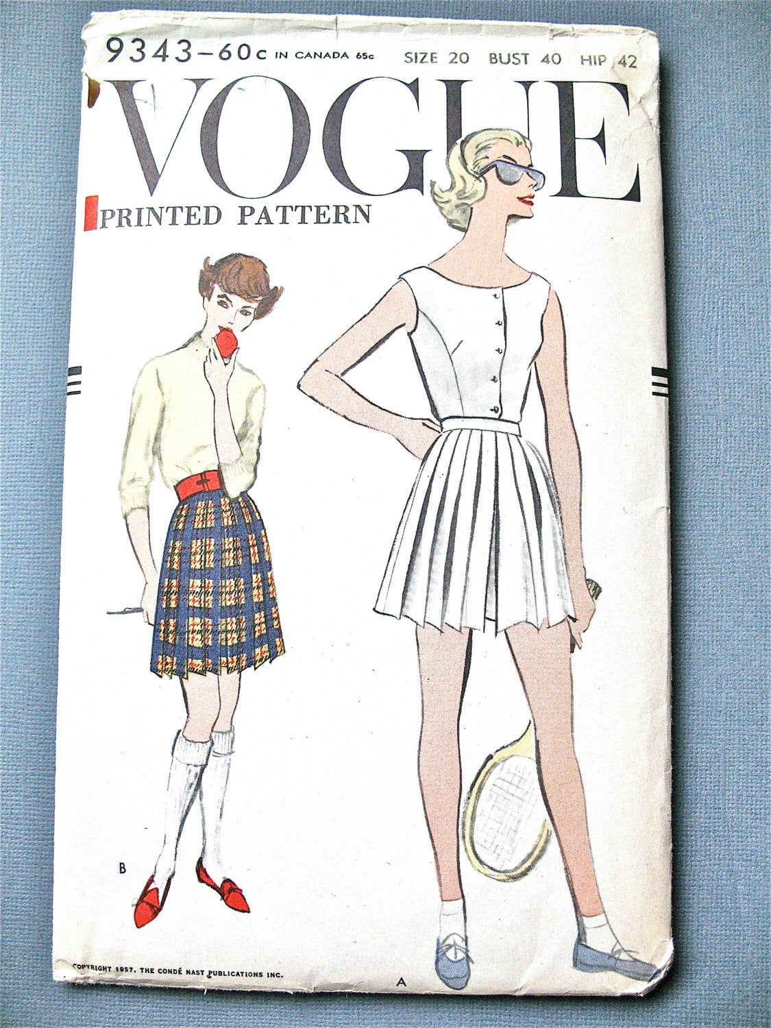 Uncut 50s Vogue 9343 Blouse And Pleated Shorts Tennis Outfit Vintage Sewing Pattern 19 In 2020 Vintage Sewing Patterns Vintage Playsuit Pattern Vintage Vogue Patterns