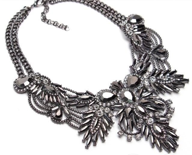 Statement necklace women accessories silver strass stones Exalia Jewels