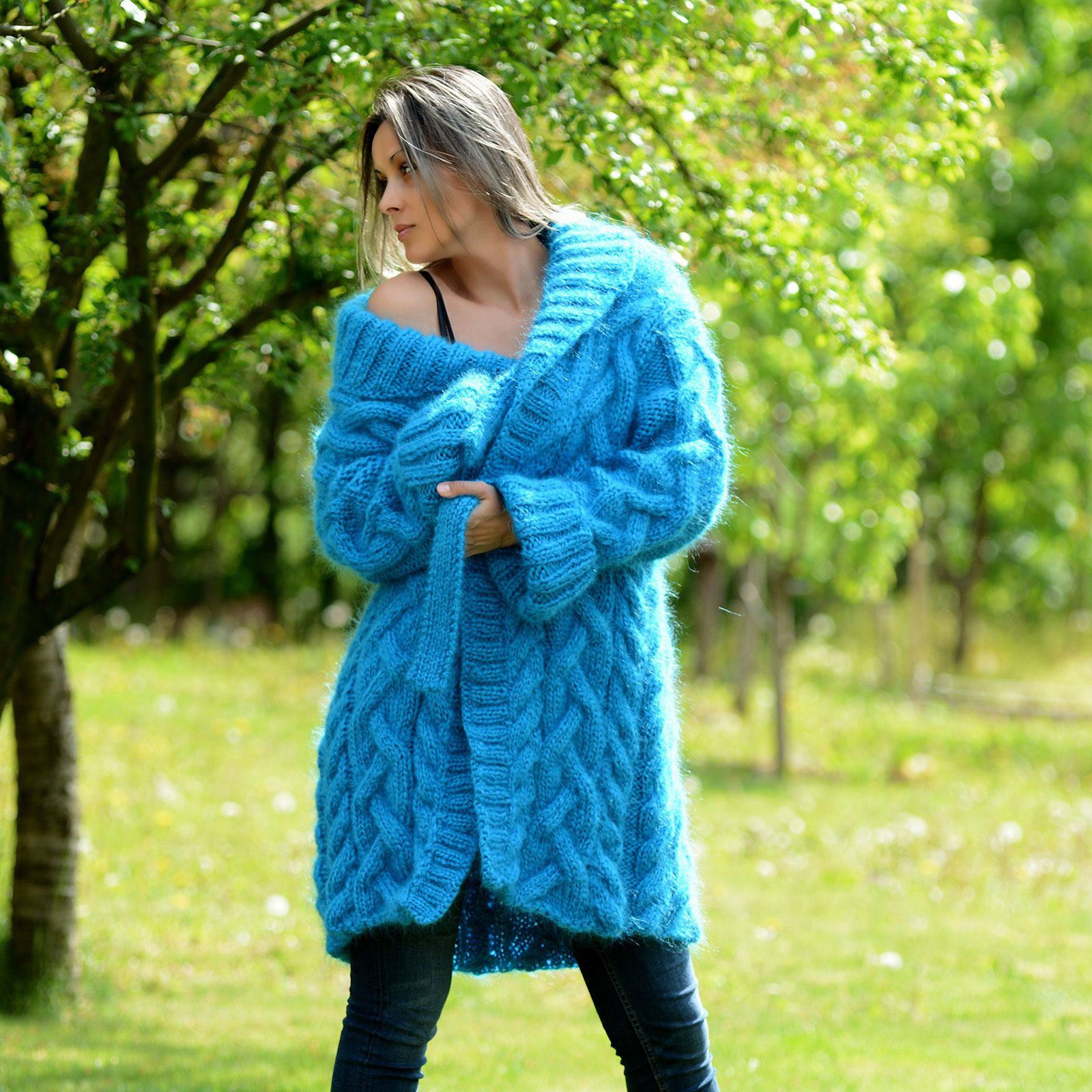 Turquoise shawl sweater coat - Extravagantza