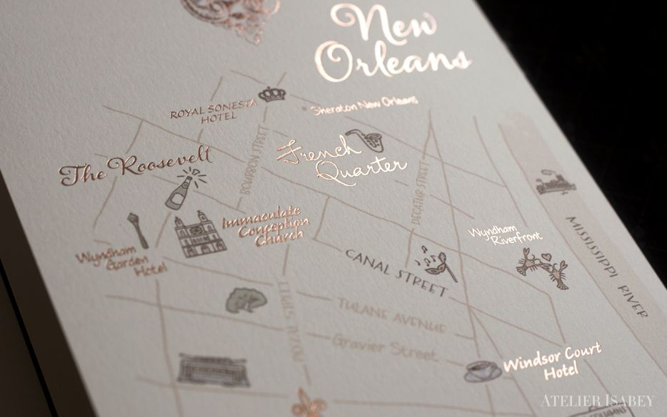 Wedding Invitations New Orleans: New Orleans Map In Custom Wedding Invitation Suite By