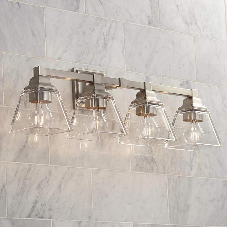 Photo of Mencino 28″ Wide Satin Nickel and Clear Glass Bath Light – #39P27 | Lamps Plus