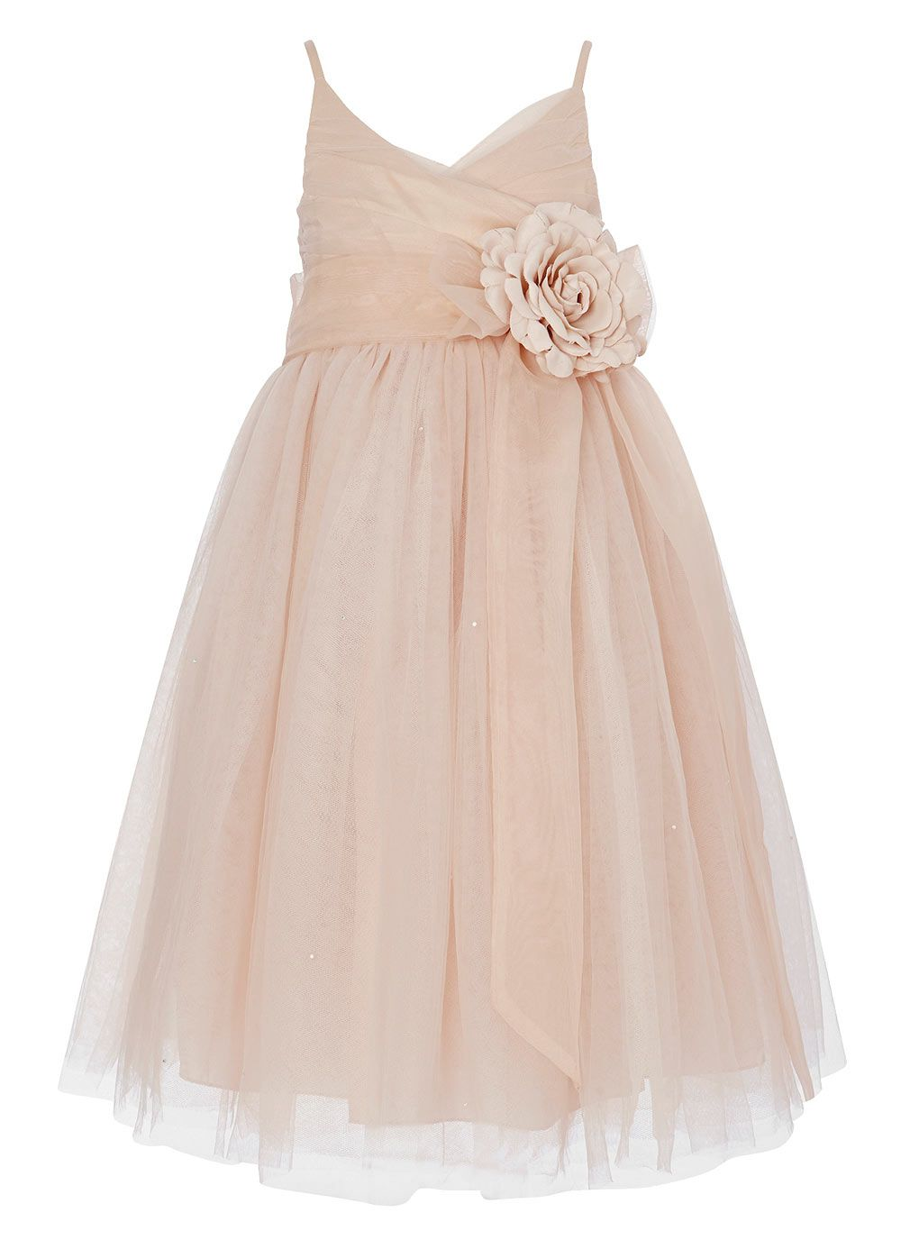 595dca577e1 tulle layered pearl pink double straps ankle length flower girl dress