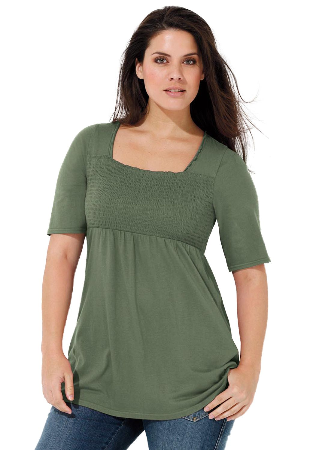top with smocked frontellos®  plus size knit tops