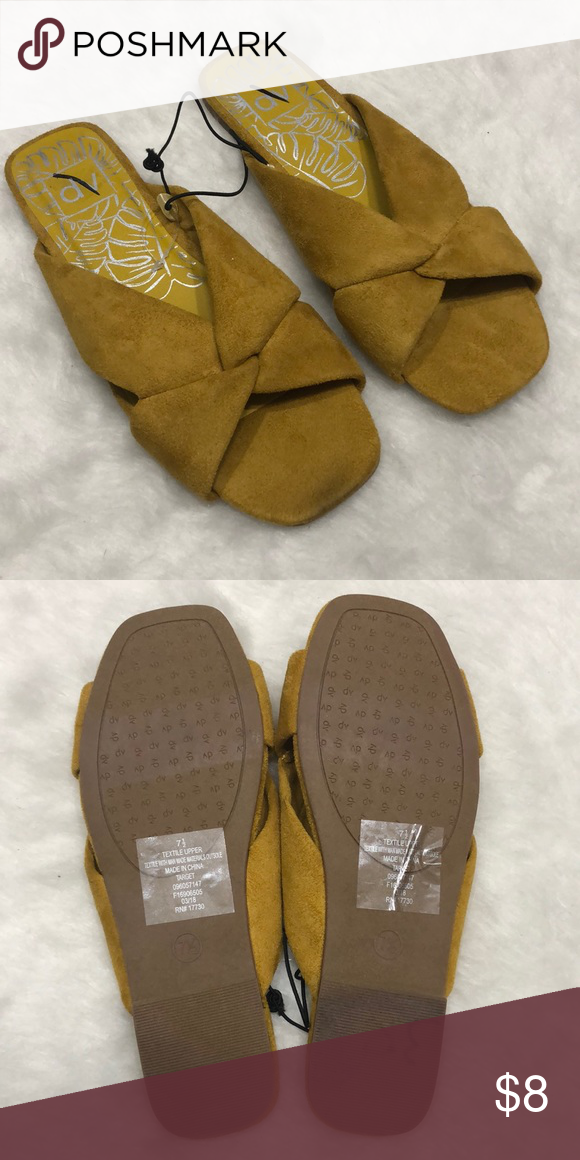 7d1757cf4fda 🍁New Mustard slides Little spot on front pictured Size 7 1 2 All man made  materials target Shoes Sandals