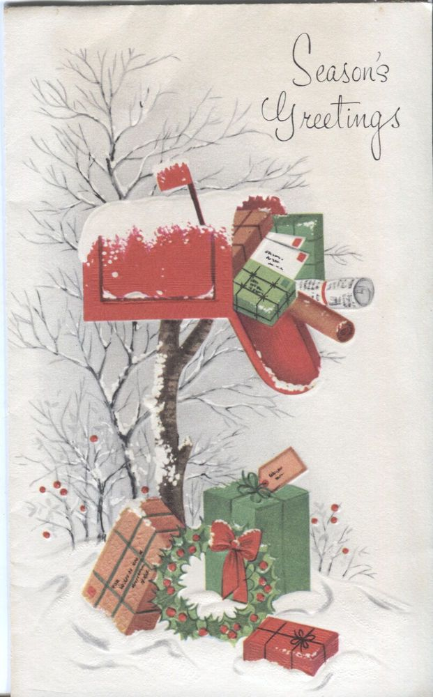 Vintage Christmas Card Mailbox With Packages Cards Christmas Christmas Cards Vintage Christmas Vintage Christmas Cards