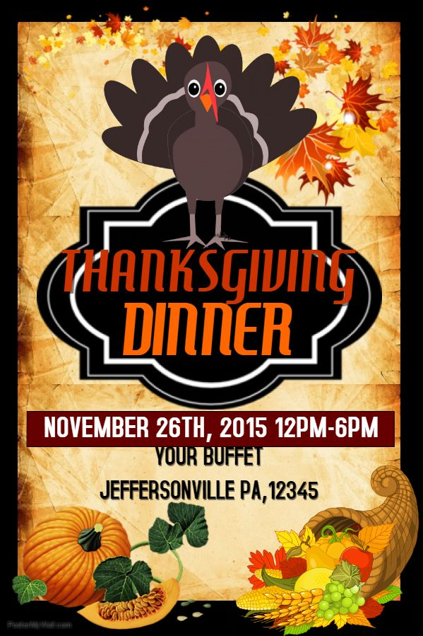 DIY Thanksgiving Turkey Dinner Poster Template