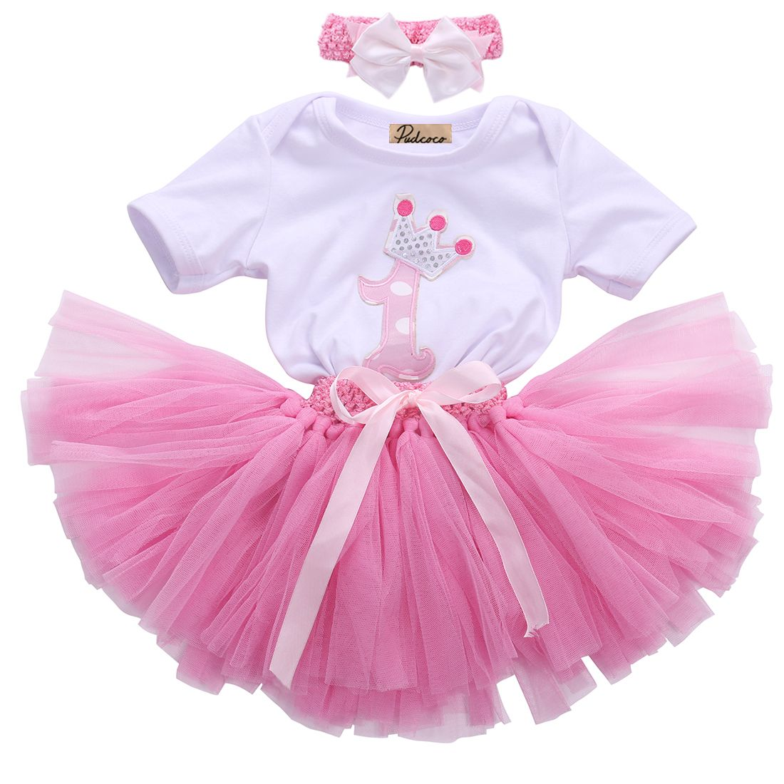 My First Birthday Infant Baby Girl Crown Romper Tulle Tutu Skirt Headband Outfit