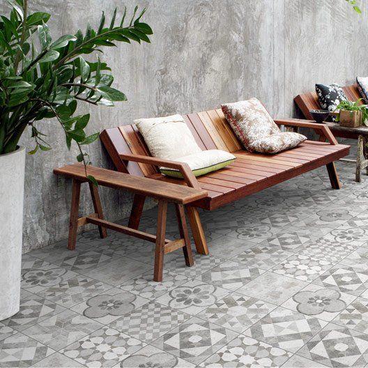 Carrelage Sol Exterieur Forte Effet Carreau De Ciment Grisblanc Villa L20xl20 Cm Carrelage Sol Mobilier Jardin Sol Exterieur