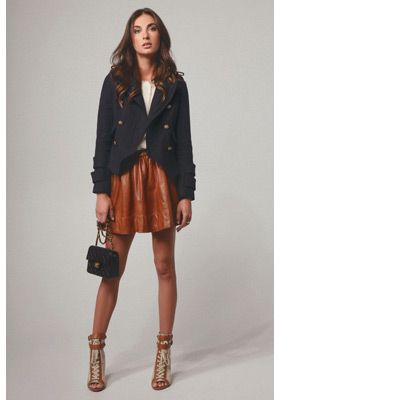 Tan leather skirt and a blazer (if black, wear with black sandal ...