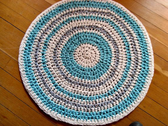 Crocheted From Soft Cotton Fabric Strips This 31 Round Rag Rug Is Very Pretty In