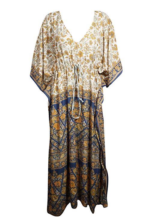 Kaftan Dresses One size L-3XL Blue Gold Floral Kaftan Womens Tunic Caftan Dress Resort Wear Cotton Beach Cover Up