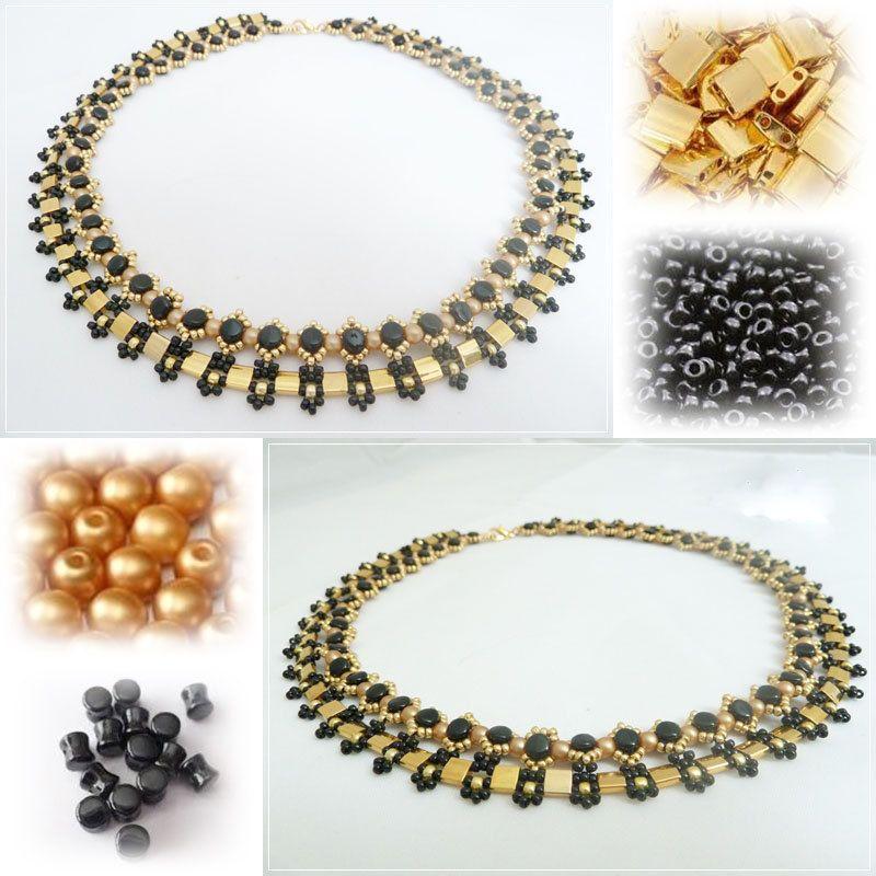 Pattern necklace AMBRE por PASSIONPERLINE en Etsy
