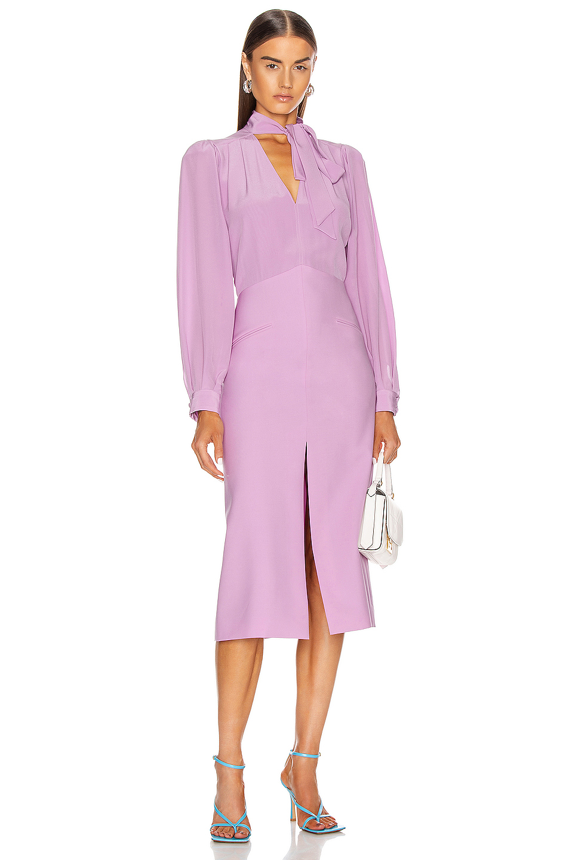 Givenchy Midi V Neck Dress In Purple Fwrd V Neck Dress Dresses V Neck [ 1440 x 953 Pixel ]