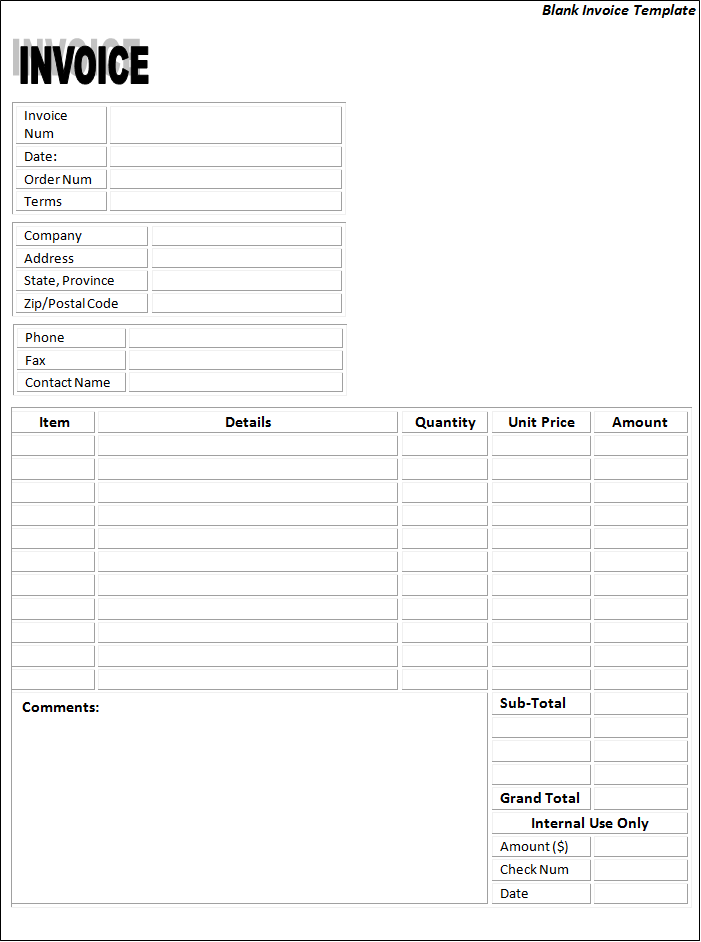 Blank Invoice Templates 22 Free Printable Word Excel Pdf Formats Samples Examples Forms Invoice Template Word Invoice Template Printable Invoice
