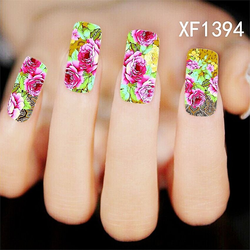 1Pcs Chic Flower Nail Art Water Decals Transfer Stickers Splendid ...