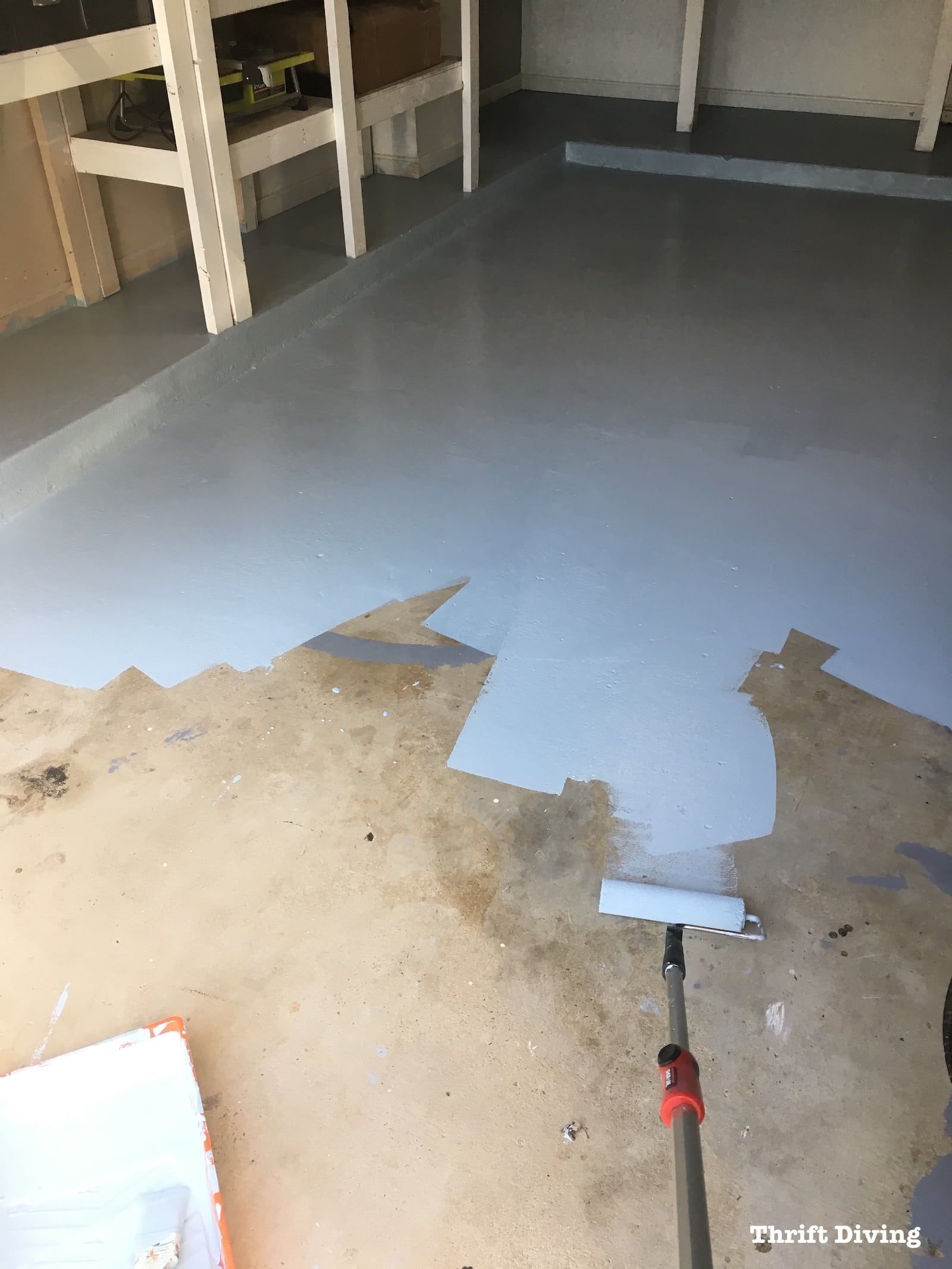 Transform a dull garage floor into a brilliantly colored
