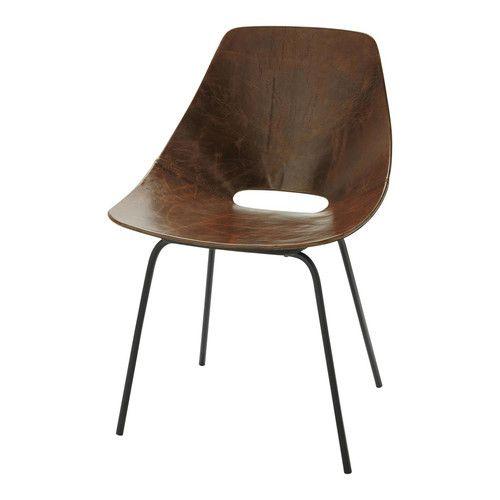 chaise tonneau cuir vintage marron guariche - Chaise Cuir Vintage