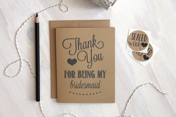 Rustic Thank you for being my bridesmaid // Bridesmaid Card // Rustic Wedding Card // Greeting Card // Stationery // Stationary on Etsy, $4.00