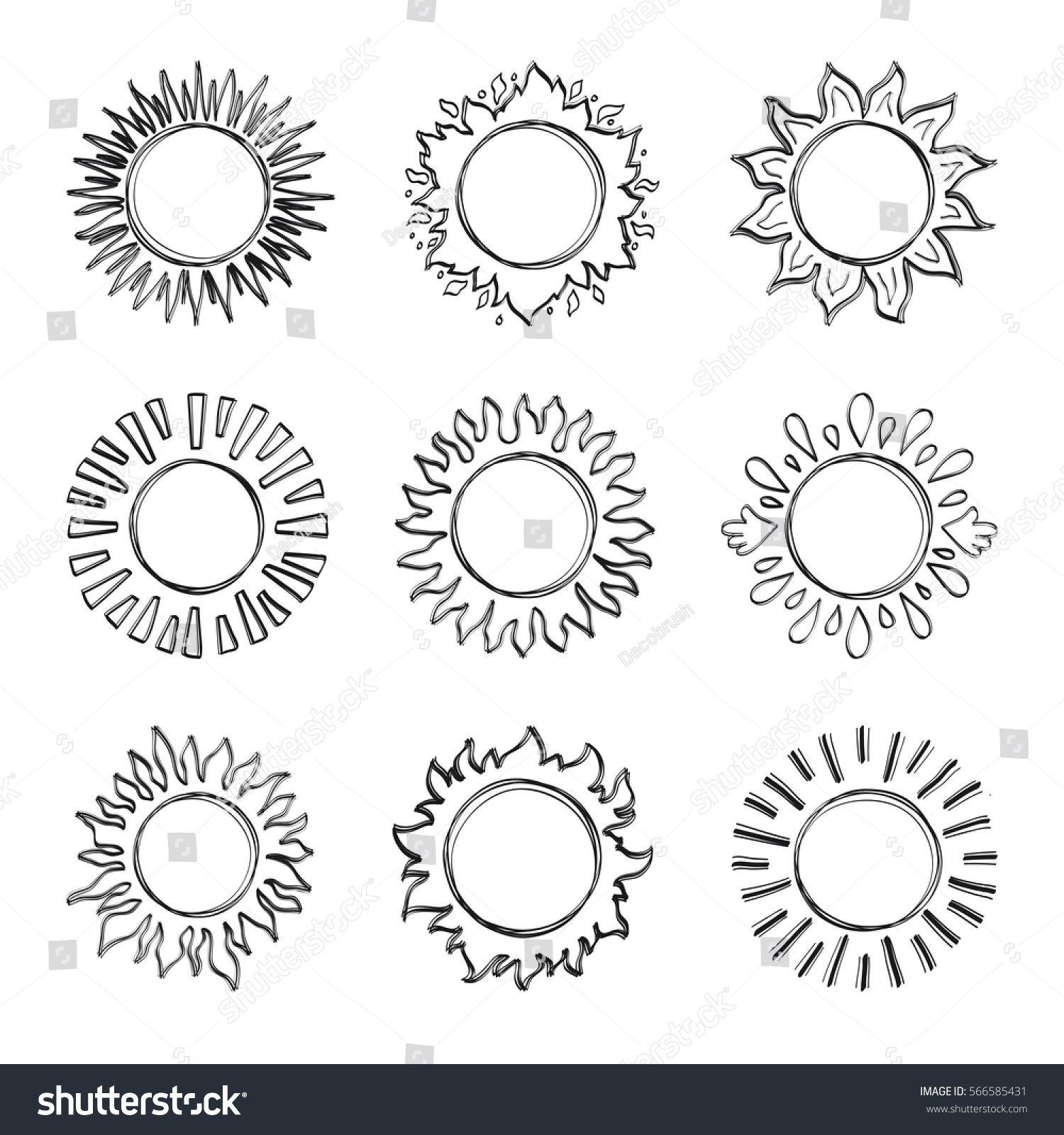 Sketch sun, Hand drawn sunshine symbols. Cute vector doodle suns, Drawing Art illustration   Doodle art flowers, Sun doodles, Sun drawing
