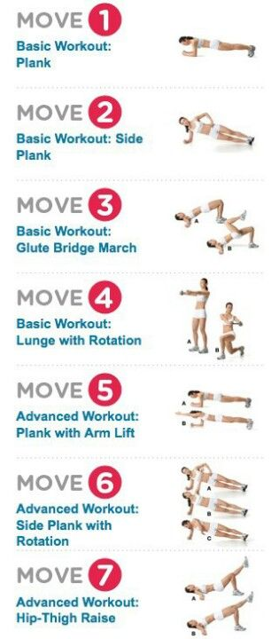 7 moves, do all seven twice/30 seconds then one minute each and gradually increase time and reps...