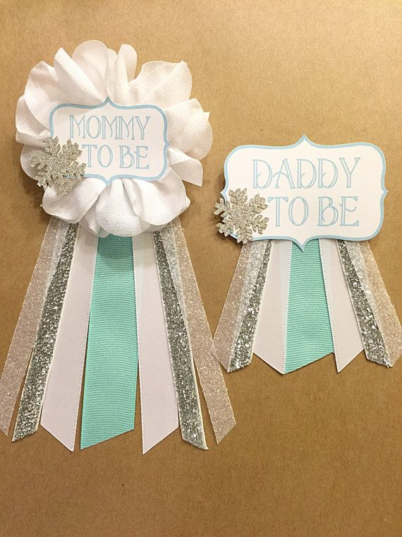 Silver Teal Aqua Snowflake Baby Shower Corsage Pin Baby Its
